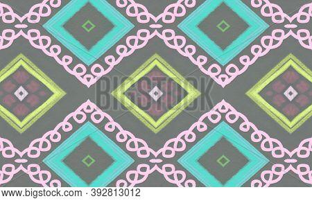 Seamless Tribal Ornament. Gray Mexican Ethnic Pattern. Hand Drawn Aztec Border. Geometric Traditiona
