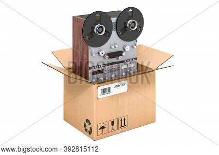 Reel-to-reel Tape Recorder Inside Cardboard Box, Delivery Concept. 3d Rendering Isolated On White Ba