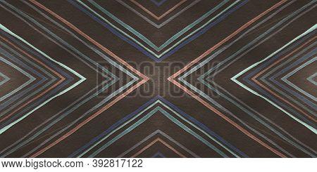Ethnic Diamond Pattern. Hand Drawn Rhombus Background. Seamless Abstract Tribal Print. Traditional T