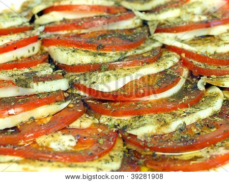 Caprese Appetizer of Tomatoes Mozzarella and Spices poster
