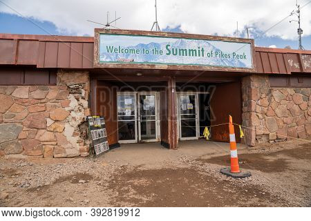 Colorado, Usa - September 15, 2020: Entrance To The Pikes Peak Summit House, Under Construction