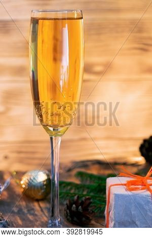 A Glass Of Champagne.bubbly. A Goblet Of Sparkling Wine. A Wineglass Of Fizz. Christmas Background.