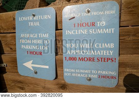 Manitou Springs, Colorado - September 15, 2020: Sign For The Bailout Point Along Manitou Incline Hik