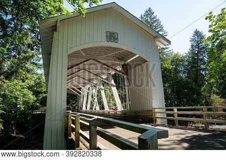 The Short Bridge, An Historic Covered Bridge Near Cascadia Oregon In The Willamette National Forest