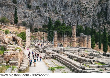 Delphi, Greece - September 21, 2017: Panoramic View Of Ancient Ruins Temple Of Apollo During Excursi