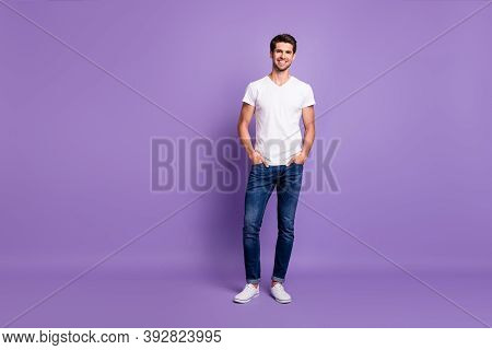Full Length Body Size View Of His He Nice Attractive Sportive Content Cheerful Cheery Guy Model Posi
