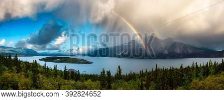 Panoramic View Canadian Nature, Mountains, And Lake During Fall Season. Sunny Cloudy Morning With Ra