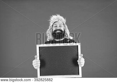Learn Barbering, Become Barber. Happy Barber Hold Blackboard. Bearded Man Advertising Barber School.