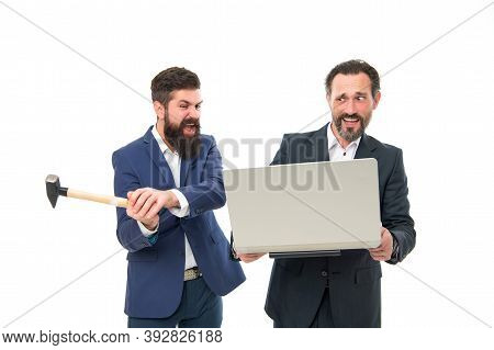 Business Problems. Online Life. Service For Gadgets. Repair Service. Men With Laptop And Hammer. Bre