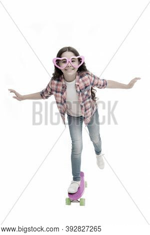 Kid Happy Lovely Feels Sympathy. Child Charming Smile Fall In Love. Girl Heart Shaped Eyeglasses Rid