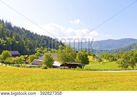 Picturesque View Of Bled Town Near Bled Lake, Slovenia. Town Is Most Notable As A Popular Tourist De