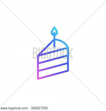 Birthday Cake Slice Vector Icon In Bright Color Gradient. Outlined Slice Of A Cake With A Candle Iso