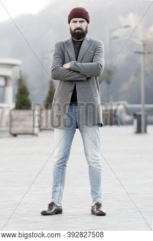 Stylish Casual Outfit Spring Season. Menswear And Male Fashion Concept. Man Bearded Hipster Stylish