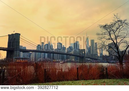 A Amazing Picturesque View Of A Famous Suspended Brooklyn Bridge And Manhattan Skyscrapers In New Yo