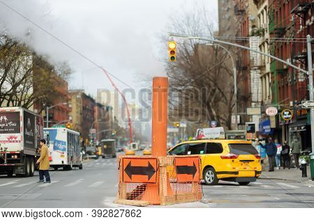 Manhattan, New York, Usa - December 26, 2019: Typical Vew Of Street In East Village With Local Peopl