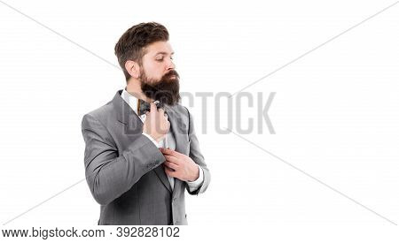 Man Fix Bow Tie. Brutal Businessman Grooming. Mature Man With Beard In Jacket Isolated On White. For