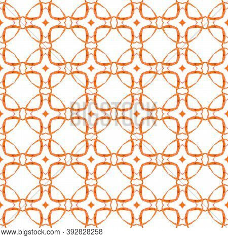 Textile Ready Fine Print, Swimwear Fabric, Wallpaper, Wrapping.  Orange Magnetic Boho Chic Summer De