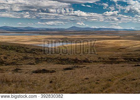 Falkland Islands, Uk - December 15, 2008: Wide Windswept Bare Landscape Of Dry Land With Multiple Da