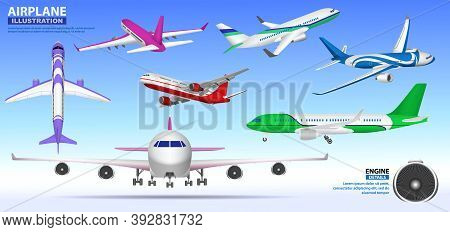 Set Of Realistic Airplane Mock Up Or Landing And Take Off Commercial Airplane Or Airplane Business C