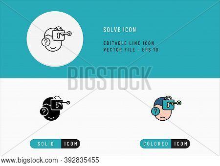 Solve Icons Set Editable Stroke Vector Illustration. Problem Solving Advise Symbol. Icon Line Style