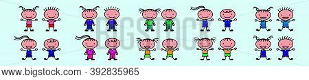 Vector Illustration Of Funny Kids Playing Outside Cartoon Icon Design With Various Model Isolated On
