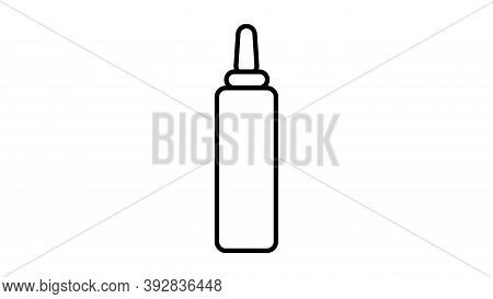 Mustard On A White Background, Vector Illustration. Black And White Mustard, Hot Dog Seasoning, Food