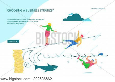 Landing Webpage Template Of Business Risk And Success, Danger Of Risky Decisions. Businessman Ropewa