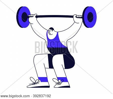 Weightlifter Lifting A Big Barbell Isolated On White Background. Male Sportsman In Modern Outline Mi