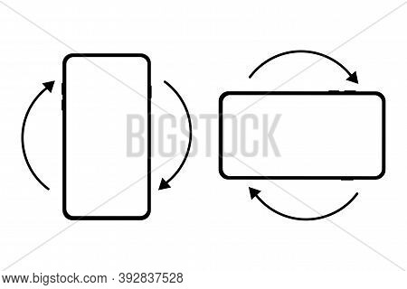 Vector Rotate Phone Icon. Rotation And Tilt Sign Of The Device. Smartphone Button. Stock Illustratio