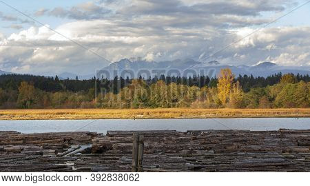 Fraser River Fall Colors At Vancouver British Columbia Canada