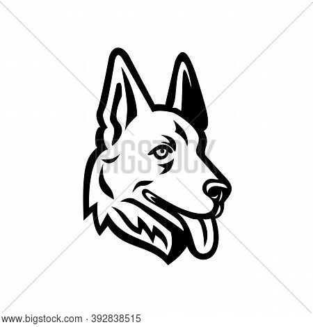 Mascot Illustration Of Head Of A German Shepherd Or Alsatian Wolf Dog Viewed From Side On Isolated B
