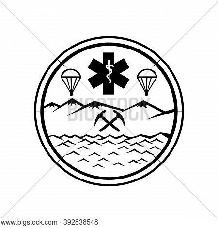Mascot Icon Illustration Of  Land, Sea And Air Rescue Showing Star Of Life Emt Symbol With Rod Of As