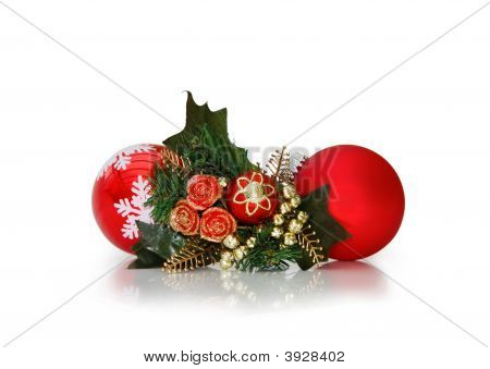 Christmas Baubles Over White With Clipping Path
