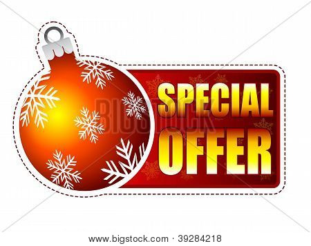 Special Offer Label With Christmas Ball And Snowflakes