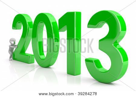 Starts A New Year 2013. 3D Image. On A White Background