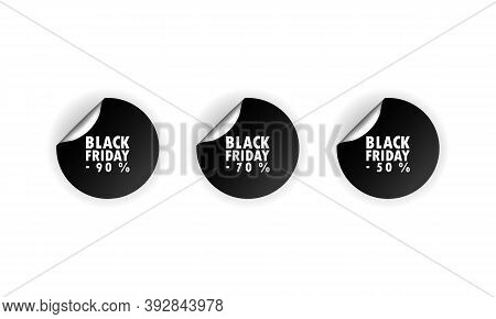 Black Friday Stiker. Sale Sticker. Round Stikers Discount Label On Transparent Backdrop Up To 50, 70
