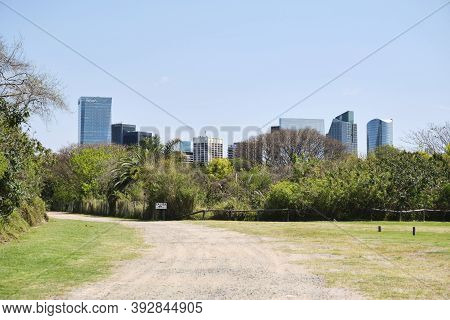 Buenos Aires / Argentina; Oct 6 2020: Footpath Of The Costanera Sur Ecological Reserve, Arriving At