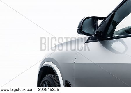 Mock-up, Banner For Car Advertising. Silver New Car Side View: Fender, Side Glass, Wheel, Bumper And