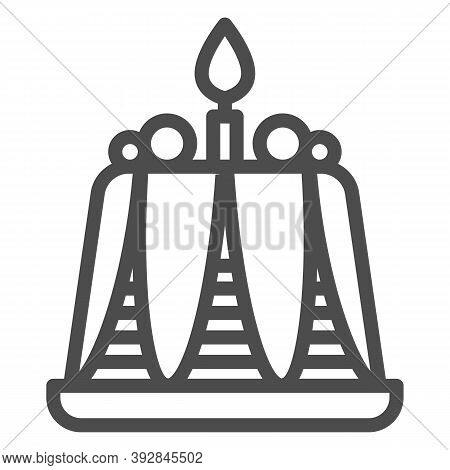 Pudding With Candle Line Icon, Bakery Concept, Birthday Cupcake Sign On White Background, Delicious