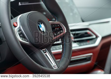 Novosibirsk, Russia - October 20, 2020:  Bmw X5 M, Vehicle Interior Of A Modern Car With Voice Contr