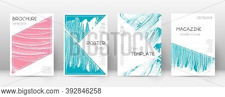 Cover Page Design Template. Triangle Brochure Layout. Classy Trendy Abstract Cover Page. Pink And Bl