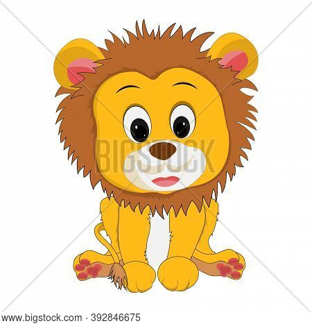 Drawing Of A Lion Cub In Cartoon Style, Made With Bright Yellow Colors. Vector Eps Illustration.