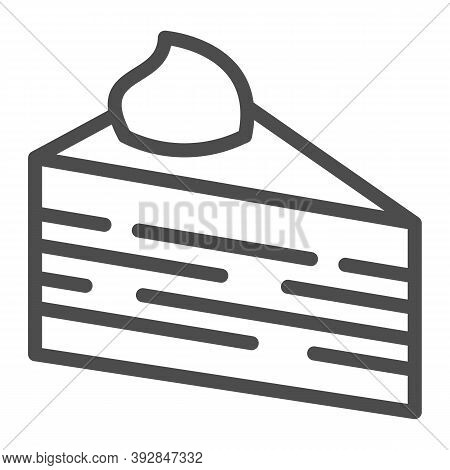 Slice Of Puff Cake Line Icon, Birthday Cupcake Concept, Cake Slice Sign On White Background, Puff Pi