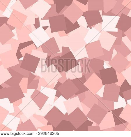 Glitter Seamless Texture. Adorable Pink Particles. Endless Pattern Made Of Sparkling Squares. Curiou