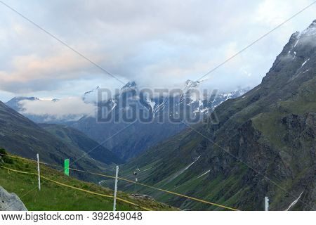 Valley And Mountain Panorama In Tyrol Alps, Austria