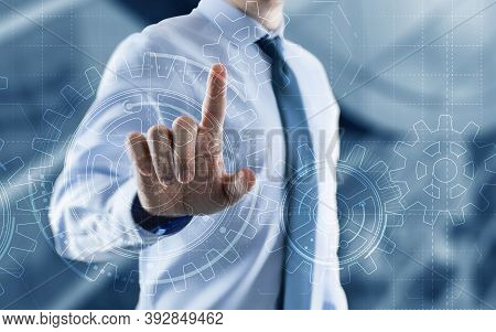 Businessman Hand Draws Gear To Success Concept. 3d Gear Virtual Screen.