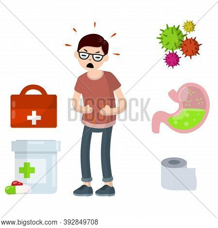 Diarrhea, Upset Stomach. Man Holding Belly. Medical Assistance In Case Of Poisoning. Poor Nutrition.