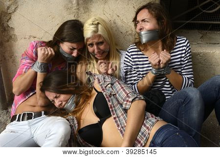 Human Trafficking: Group of young women kidnapped by gang