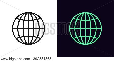 Outline Globe Icon. Linear World Sign With Editable Stroke, Globe Internet. Digital Earth, Internati