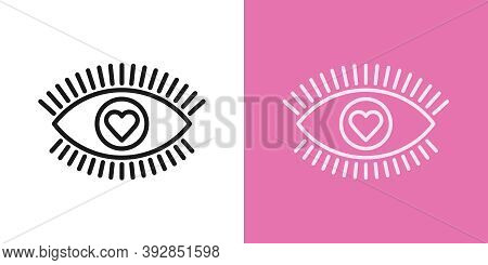 Outline Love Eye Icon With Editable Stroke. Linear Eye Sign With Heart Iris, Healthy Vision. Health